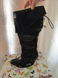 Pleaser Women's Black Leather Medieval Pirate Renaissance Boots