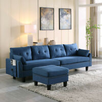 Upholstered Sectional Sofa/Couch with Storage Ottoman for Living Room 4-Seaters