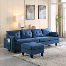 Upholstered Sectional Sofa/Couch 4-Seaters with Storage Ottoman for Living Room
