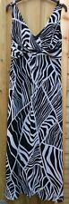 BHS SIZE 12 BLACK/WHITE SWIRL CHIFFON MAXI DRESS FULLY LINED FAB COND'N FREE P&P