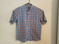 Jos A Bank Mens Button Down Shirt XL Short Sleeve Plaid Multicolor