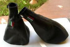 ALFA ROMEO MiTo CUFFIA CAMBIO E FRENO vera pelle nera tricolore made in Italy