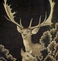 Vintage Biederlack Blanket Deer Reversible Throw Bedspread Brown Log Cabin Decor