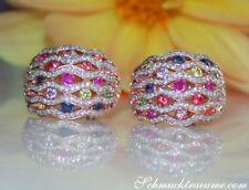 Stattliche Regenbogen Saphir Ohrringe mit Diamanten, 3.25 ct. Rosegold 585 6500€
