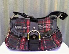 NEW Coach SOHO TARTAN Signature Flap Shoulder Satchel HOBO Glitter Handbag F1548