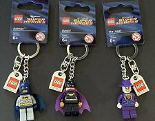 LEGO DC Comics Super Heroes BATMAN, BATGIRL & JOKER Keychains Brand New