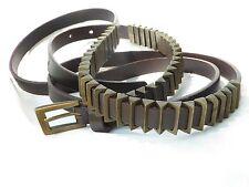 Unique IBEL ITALY MoD Leather & Brass Triangle Beaded double loop Belt sz S
