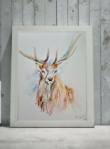 New Original signed Elle Smith certificated watercolour nature art painting Stag