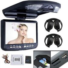 "US Overhead Roof Mount Car DVD Player 15.6"" LCD Touch Headrest USB/SD+Headphones"