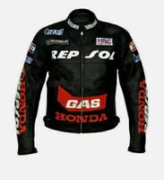 New Honda Gas Customized Motorcycle Motorbike Biker Racing 1.3mm Leather Jacket