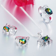 Lady 925 Silver Set Double Color Gem Necklace Pendant Rings Earrings Jewelry