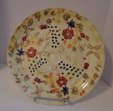 """Appetizer Plate Cookie Tray Round Yellow Floral Flowers 11"""" Ceramic"""