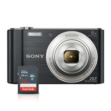 Sony Cyber-shot DSC-W810 20.1MP Digital Camera 6x Optical Zoom Black + 32GB Card
