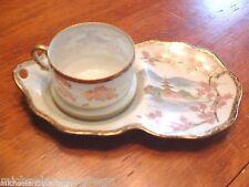 Antique Hptd Japanese Kutani Porcelain Taisho Period Tennis Cup & Tray C1910-20