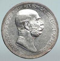 1908 AUSTRIA w King FRANZ JOSEPH I Austrian Silver Antique Corona Coin i90336