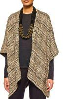 Eskandar Tweedy Tabard Over Sized Metallic Tweed Kimono Poncho Sz 0, Open Sizing
