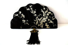 Embroidered Black Silk Fan Purse/Clutch Japanese Handmade