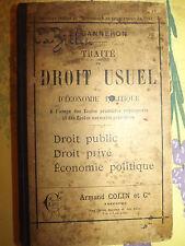 traite du droit usuel economie politique, Ganneron    1896