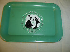 Silhouette Tip Tray Victorian Couple in Black & White on Green Background 6740