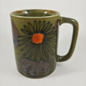 OTAGIRI Green & Orange Floral Mug - vtg Hand Painted Japan 8oz Small Coffee Cup