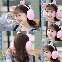Women Earmuff Plush Winter Warm Cat Ears Girls Outdoor Rabbit Fur Lovely Earflap