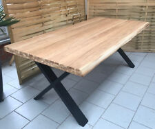Esstisch Wildeiche Massiv Baumkantentisch 240x100cm Metallfüße X-Gestell Schwarz