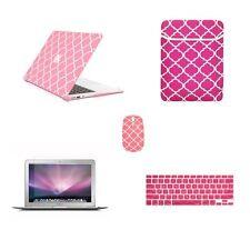 "5 in 1 Macbook Air 13"" Quatrefoil Pink Case + Keyboard Skin + LCD + Bag + Mouse"