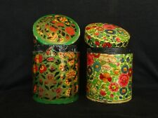 Vintage India Hand Painted Flowers Paper-Mache Oriental Round Boxs - 2 Pieces