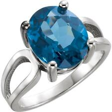 Platinum Oval London Blue Topaz Solitaire Ring