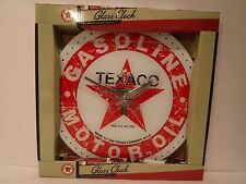 "Texaco Gasoline Motor Oil 13.75"" Glass Wall Clock Man Cave, Garage, Bar, Office"