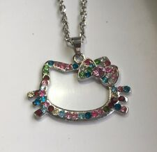 Hello Kitty Necklace Multicoloured Outline Rhinestone