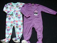 NWT Girls Fleece Footed Pajamas Size 3T 3 Winter Pjs Joe Boxer 2 Pair Purple NEW