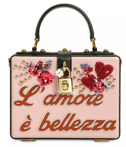 Dolce & Gabbana NEW Sicily L'Amore Embellished Pink Italy Box Bag Purse $4672