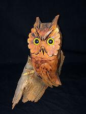 Vintage Carved Wooden Wood Owl Decoy Bird On Driftwood Statue Figurine Detailed