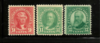 US #561, 563; 622 Mint-VLH 1925 Flat Press Regulars ~ Perf 11...Free Shipping!