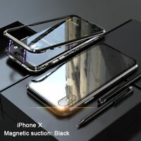 Magnetic Adsorption Metal Tempered Glass Luxury Case Cover For iPhone XS MAX 7 8