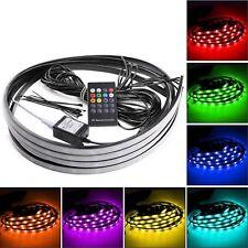 4pcs 7 Color 5050 LED Undercar Glow Underbody System Neon Light Strip Kit Remote