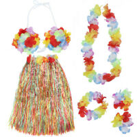 Colorful Hawaiian Hula Funny Dance Party Grass Skirt Bra Bikini Costume Sets