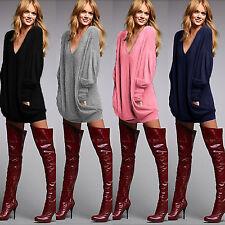 donna scollo a V Larga Maglia Manica Lunga Casuale Pullover maglione mini abito