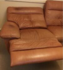 Moving sale - genuine leather sofa in excellent condition, adjustable leg rest