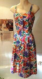 vintage 1980's Indian cotton floral print sun dress 10