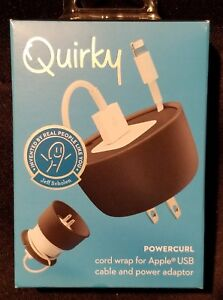 BNIB ~ Quirky POWERCURL for Apple USB Cable & Power Adaptor ~ BLACK