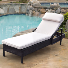 Giantex Chaise Lounge Chair Brown Outdoor Wicker Rattan Couch Patio Furniture