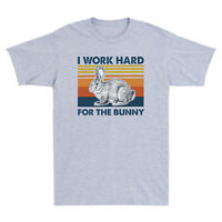 Rabbit I Work Hard For The Bunny Vintage Men's T-Shirt Short Sleeve Cotton Tee