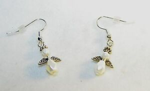 EXQUISITE HAND-CRAFTED SILVER AND PEARL ANGEL EARRINGS - 1-1/2 INCHES