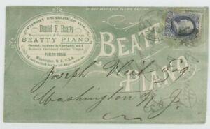 Mr Fancy Cancel 1c BN OVERALL AD COVER BEATTY PIANO WASHINGTON NJ LOCAL USE