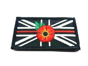THIN RED LINE FIREMAN FIREFIGHTER REMEMBRANCE POPPY MOURNING HOOK FASTENER PATCH