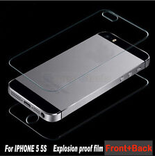 Back+ Front Premium Real Tempered Glass Film Screen Protector For iPhone 5 5G 5S