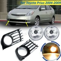 Pair Front Bumper Fog Light Lamps w/ Bulbs + Cover For 2004-2009 Toyota Prius