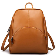 ELOMBR Women's Backpack Purse PU Leather Ladies Casual Shoulder Bag School Brown